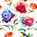 Seamless pattern with beautiful peony flowers watercolor painting Stock Photos