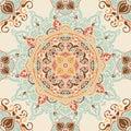 Seamless pattern with beautiful round pattern, indian style magical mandala