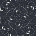 Seamless pattern with beautiful white plants silhouettes