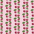 Seamless pattern with beauty cherries and leaves. Royalty Free Stock Photo