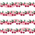 Seamless pattern with beauty cherries on striped background. Royalty Free Stock Photo