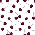 Seamless pattern with beauty cherries on white background. Royalty Free Stock Photo