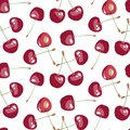 Seamless pattern with beauty cherries on white background Royalty Free Stock Photo
