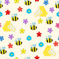 Seamless pattern with bee and flowers Royalty Free Stock Photo