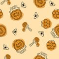 Seamless pattern. Beekeeping product. Included bee, honey, dipper, honeycomb, beehive and flower on olive background.