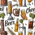 Seamless pattern beer tap, hand hold glass, bottle and hop