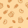 Seamless pattern of beers, ears, hop, pretzels Royalty Free Stock Photo