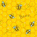 Seamless pattern with bees and honeycombs Royalty Free Stock Photo