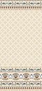 Seamless pattern on a beige background with a wide border of flowers and swans Royalty Free Stock Images