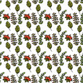 Seamless pattern with berries and leaves. Vector illustration fo
