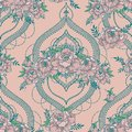Seamless pattern with beutiful peonies and mendi style deorative frames