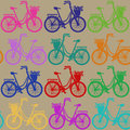 Seamless pattern of bicycles colorful with basket full flowers Stock Photography