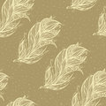 Seamless pattern with big feather