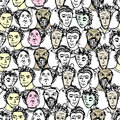 Seamless pattern with big group of people. Vector Royalty Free Stock Photo