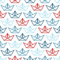 stock image of  Seamless Pattern Big Paper Boats Outline Blue And Red
