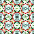 Seamless pattern with bike wheels bicycle wheels with colored rims and spokes vector illustration Stock Image