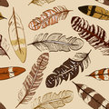 Seamless pattern of bird feathers hand drawn Royalty Free Stock Photography