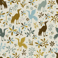 Seamless pattern with birds Stock Photos