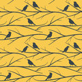 Seamless pattern with birds on branches vector eps8