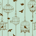 Seamless pattern of birds and cages vintage Royalty Free Stock Image