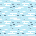 Seamless pattern with birds and clouds. Flat style. Royalty Free Stock Photo