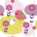 Seamless pattern with birds and flowers Royalty Free Stock Images