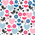 Seamless pattern birds flowers Stock Photos
