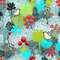 Seamless pattern with birds and flowers beautiful cute pretty vector background Stock Photo