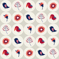 Seamless pattern with birds and flowers in circles for textiles interior design for book design website background Royalty Free Stock Photography