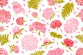 Seamless pattern with birds and flowers. Peony, chrysanthemum, clover, tulip, fern.