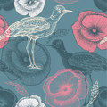 Seamless pattern with birds and flowers. Vector il Stock Photo