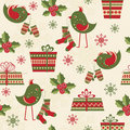 Seamless pattern with birds and gifts Royalty Free Stock Photos