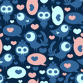 Seamless pattern with birds and hearts funny Royalty Free Stock Images