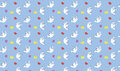 Seamless pattern with birds hearts and letters