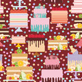 Seamless pattern Birthday, valentine`s day, wedding, engagement. Set sweet cake, Cake Stand, fresh fruits berries, chocolate icin