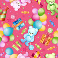 Seamless pattern for birthdays with balloons and teddy bears Stock Photos