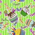 Seamless pattern of birthdays cupcakes colorful cartoon Royalty Free Stock Images