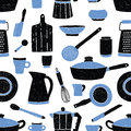 Seamless pattern with black and blue kitchen utensils, tableware, dishes and tools against white background. Vector Royalty Free Stock Photo