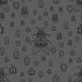 Seamless pattern with black bugs