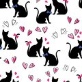 Seamless pattern black cats with hearts on a white background