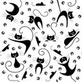 Seamless pattern with black cats paw prints and mice in various poses Royalty Free Stock Photos