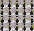 Seamless pattern with black cats and swirls Stock Images