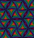 Seamless Pattern of Black and Colorful Striped Curved Triangles.
