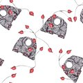 Seamless pattern with black elephants and red leaves on white isolated background drawing with pen ball.