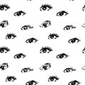 Seamless pattern with black eyes on white background in grunge style, real halftone print Royalty Free Stock Photo