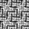 Seamless pattern with black feathers. Vector checkered monochrome texture for wrapping or textile. Royalty Free Stock Photo