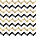 Seamless pattern of black gold zigzag chevron