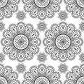 Seamless pattern with black mehndi floral henna lace buta decoration items in Indian style. Royalty Free Stock Photo