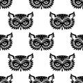 Seamless pattern with black owl head for any background design Royalty Free Stock Photo