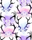 Seamless pattern with black silhouettes of deer and elk horns with flowers and gently watercolor splashes on white background.